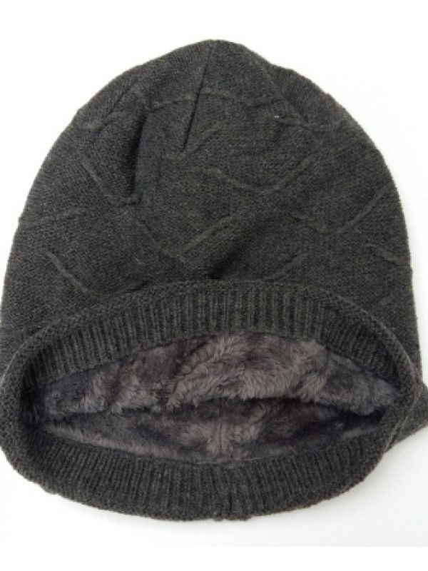 Beanie Courtney, met fleece, grijs - chemo muts / alopecia muts - EN