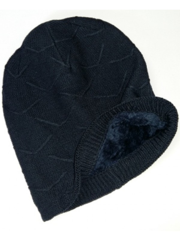 Beanie Courtney, met fleece, navy - chemo muts / alopecia muts (winter) - EN