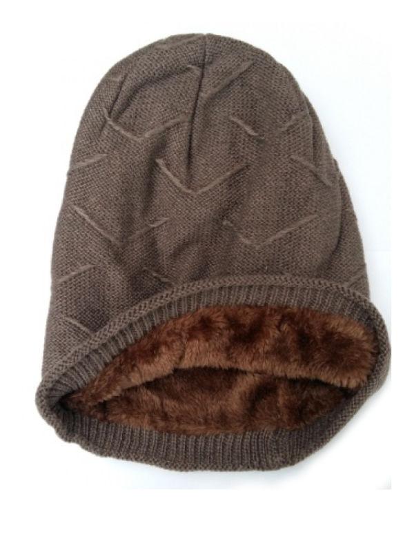 Beanie Courtney, met fleece, walnoot - (winter) chemo muts / alopecia muts - EN