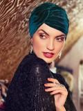 Turban Pearl Boho Spirit - Velvet Green - chemo mutsje velvet / alopecia hoofdbedekking - EN