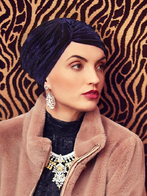 Turban Pearl Boho Spirit - Velvet Navy - chemo turban velvet / alopecia hoofdbedekking - EN