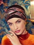 Turban Boho Spirit Scarlett Velvet Dark Brown - chemo mutsje / alopecia turban - EN