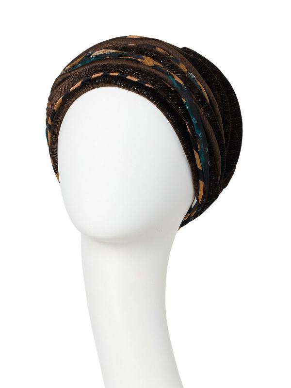Turban Scarlett Shiny Brown Animal Mix - chemo hat