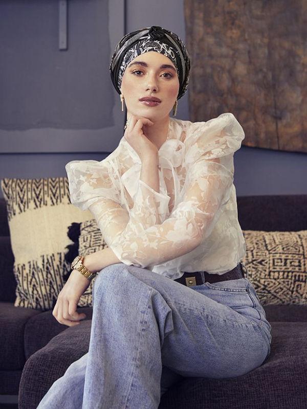 Turban Boho Spirit Scarlett Shiny Floral Woods - chemo turban / alopecia turban