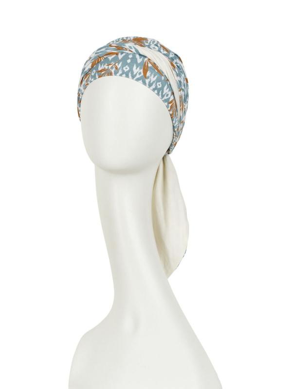 Headscarf Beatrice - Ikat Blues - chemo headwear / alopecia headscarf