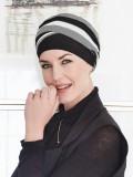 Top Shanti Grey Black Ivory - chemo hat / alopecia headwear