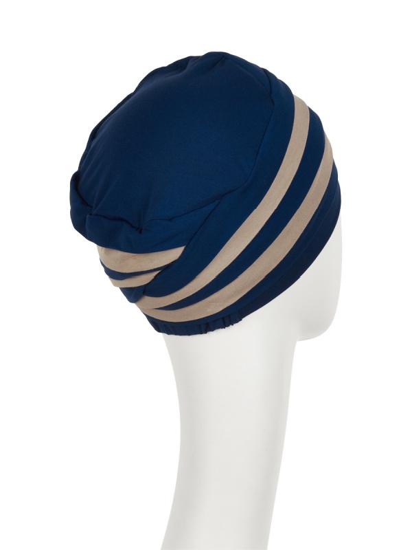 Top Shanti nachtblauw/zand  - chemo mutsje / alopecia hoofdbedekking - EN