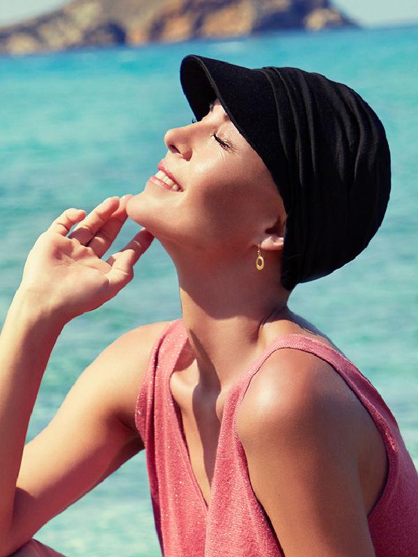 Cap B.B. Bella Black - chemotherapy headwear / alopecia cap