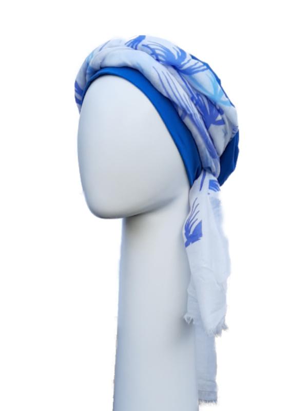 Top Tio blue & scarf palm trees - chemo hat / alopecia headwear