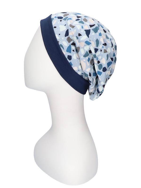 Top Mix Pebbles Blue - chemo hat / alopecia hat