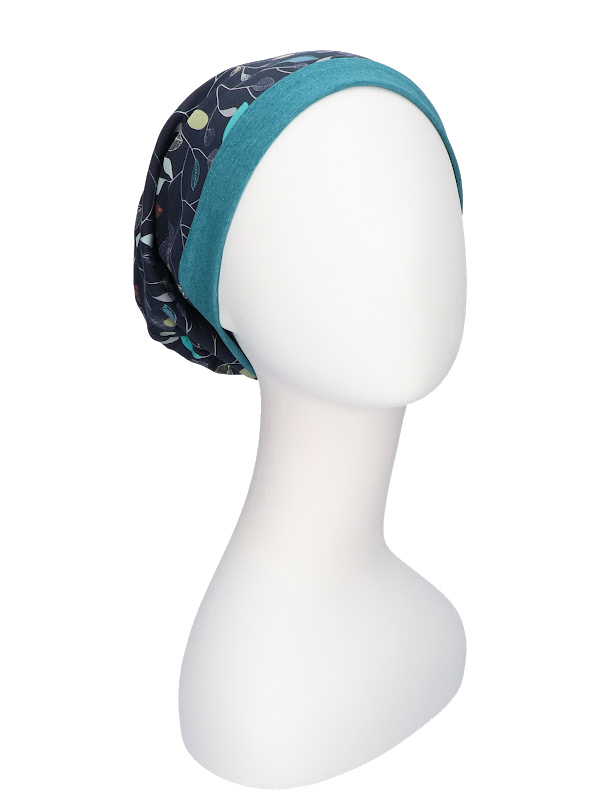 Top Mix Navy Leaves - chemo hat / alopecia hat