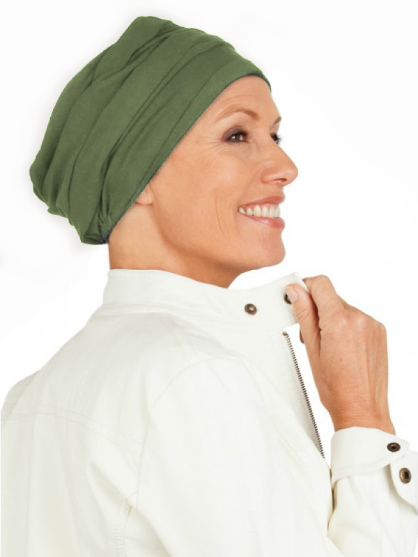 Top PLUS olive - cancer hat / alopecia headwear