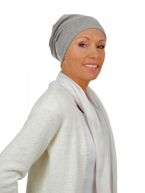 Top Tio light grey melee - chemo hat / alopecia hat