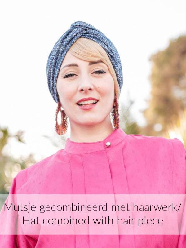 Turban Cross navy melee - chemo mutsje / alopecia mutsje - EN