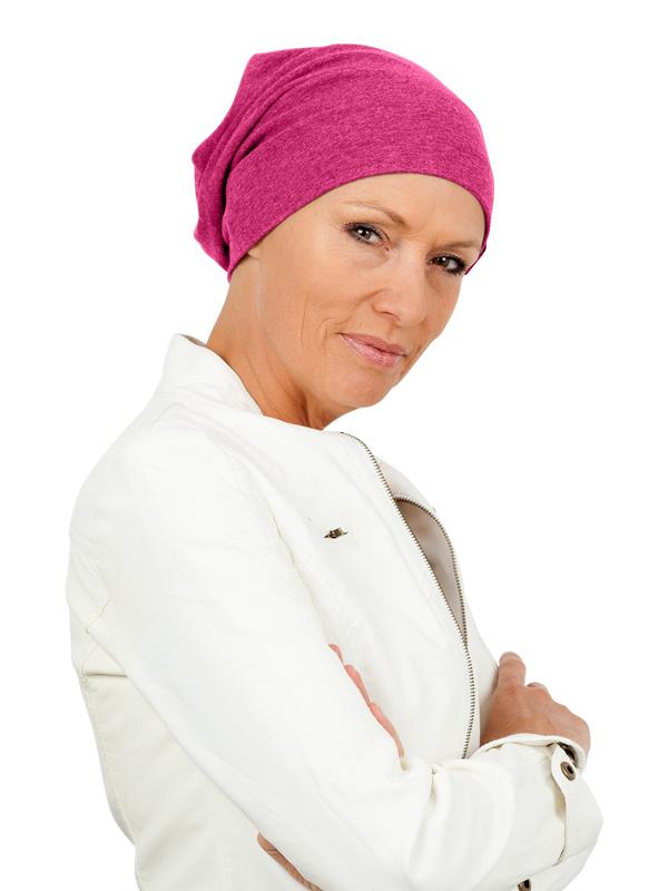 Top beanie fuchsia / Magenta - chemo mutsje / alopecia  mutsje - EN