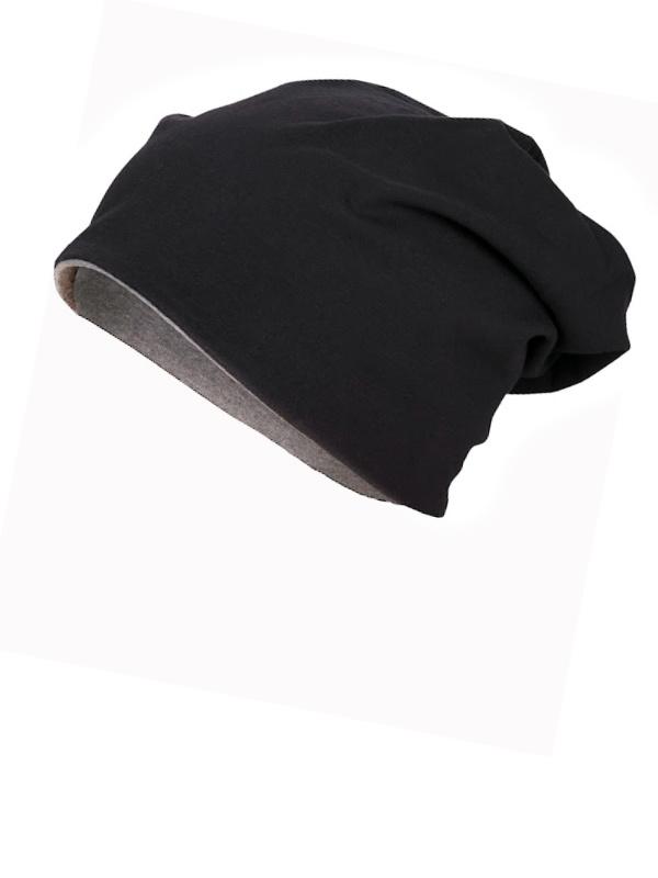 Beanie Reversible - Black & Grey - chemo hat / alopecia hat