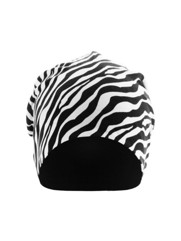Beanie printed zebra - chemo mutsje / alopecia mutsje - EN