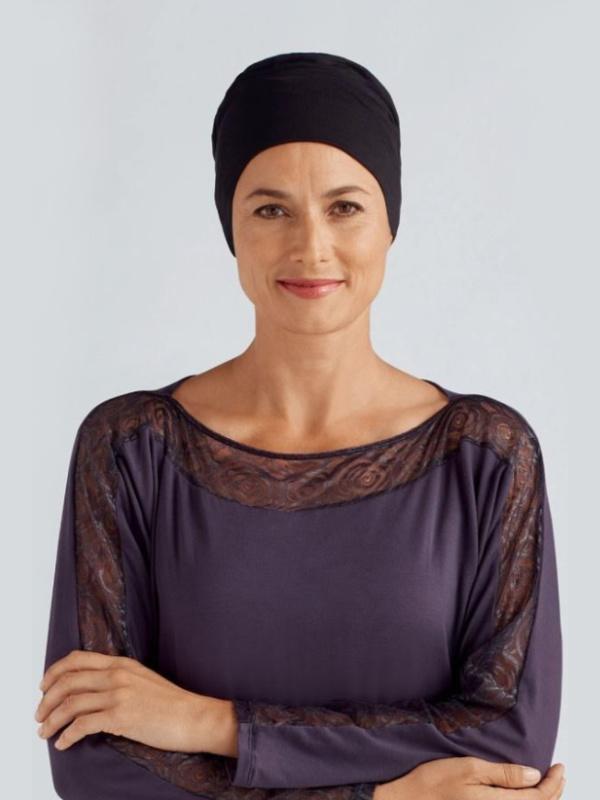 Sleep Cap Ivy black - chemo hat / alopecia hat
