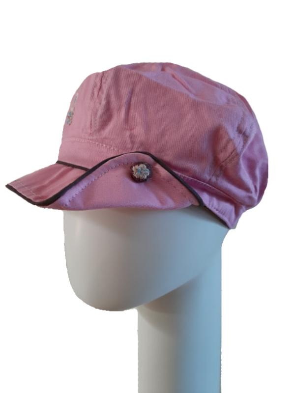 Kids Pet bakerboy Button pink and brown - chemo pet voor meisjes - EN
