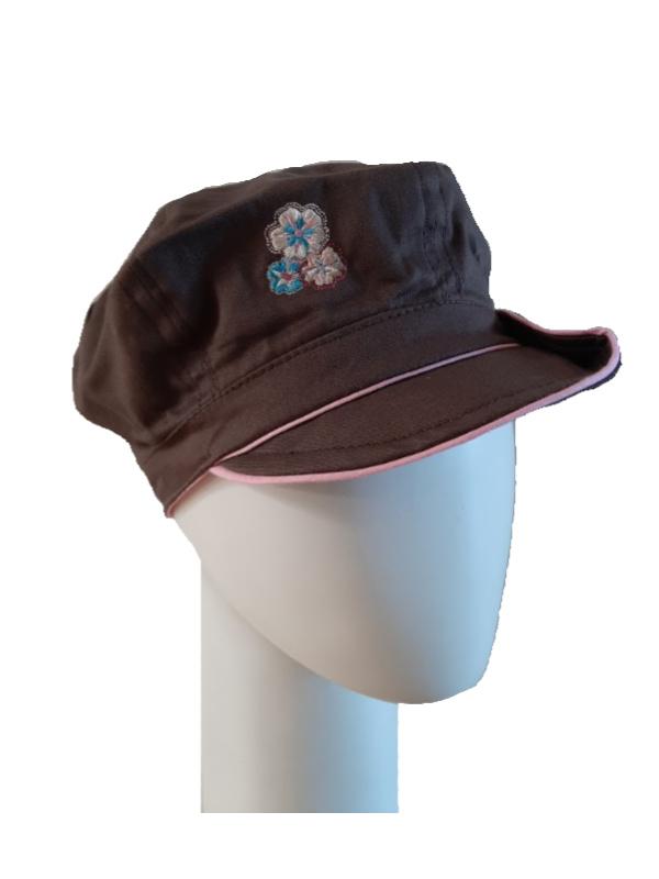 Kids Pet bakerboy Button brown and pink - chemo hoofdbedekking voor meisjes - EN