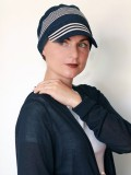 Pet Diane Blauw met witte streep - chemo mutsje / alopecia pet - EN