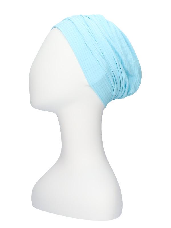 Comfortable hat Iris Fantasy Blue- chemo hat / alopecia hat