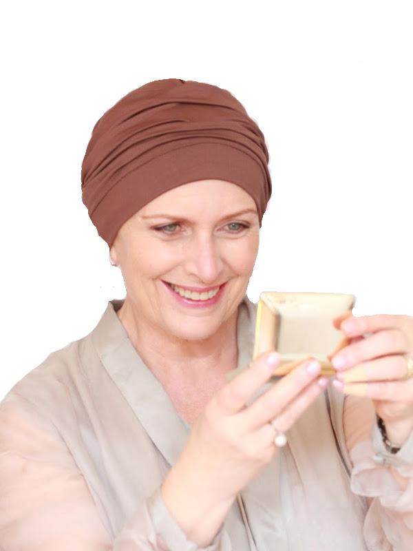 Comfortable hat Iris Brown - chemo headcover / alopecia hat