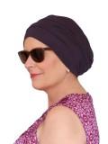 Comfortable hat Iris Aubergine - chemo hat / alopecia hat