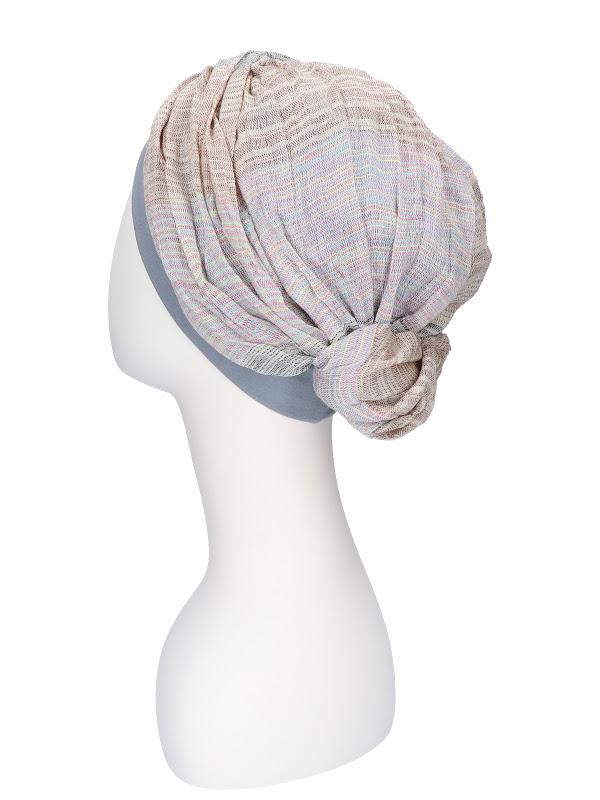 Top Mano print bleu - chemo hat/ alopecia headwear