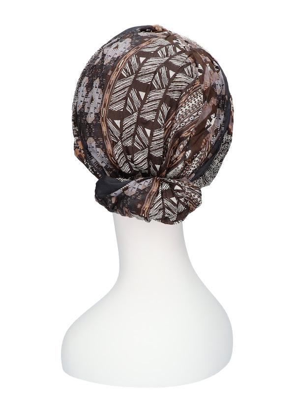 Top Mano Print Taupe - chemo headwear / alopecia scarf