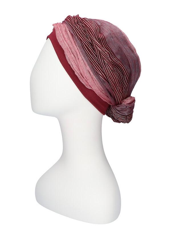 Top Mano Red Stripes - chemo hat / alopecia headwear
