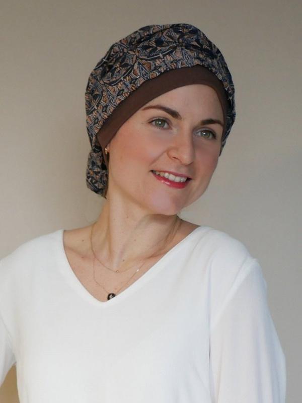 Top Mano Shiny Brown - chemo hat / alopecia hat