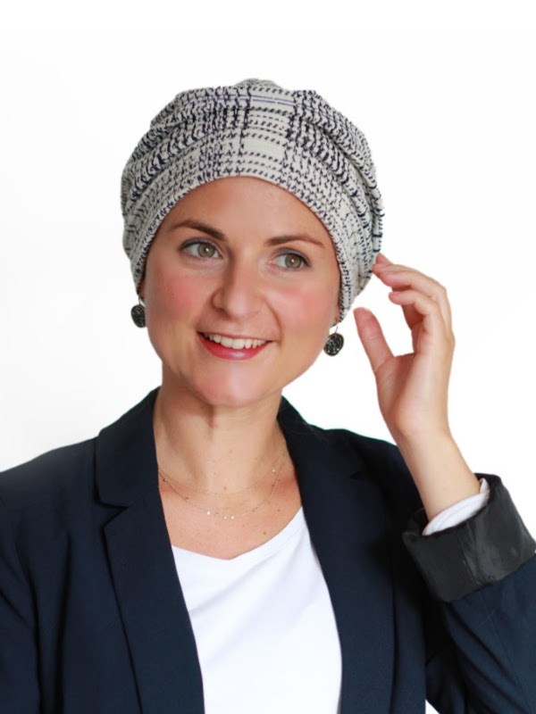 Hat Maya white print - chemotherapy headcover / alopecia hat