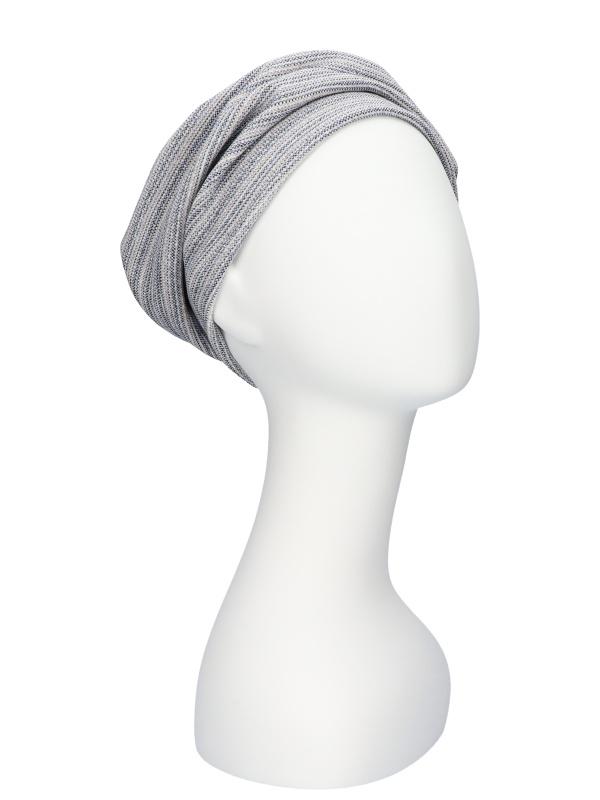 Hat Maya grey / blue / sparkle - chemo headwear / alopecia headcover