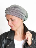 Hat Maya striped black/white - alopecia hat / chemo headcover