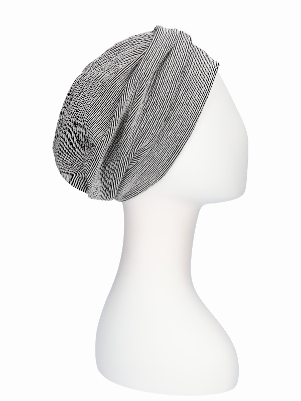 Hat Maya striped black/white - alopecia hat / chemo hat