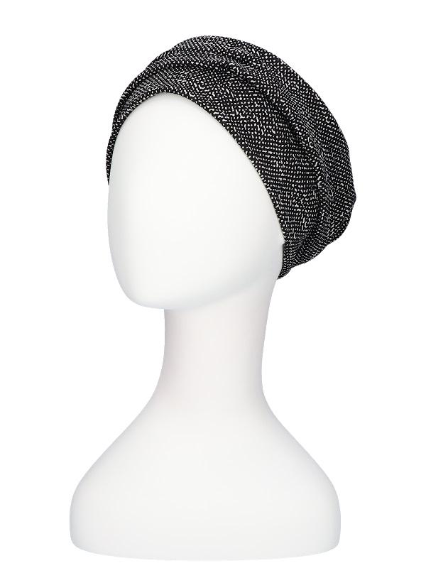 Hat Maya black striped - chemo hat / alopecia hat