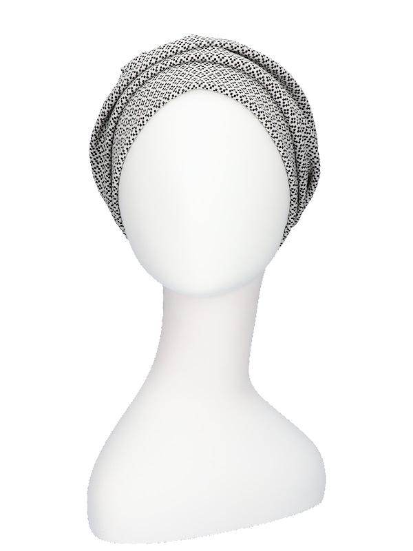 Hat Maya black - white - chemo headwear / alopecia headcover