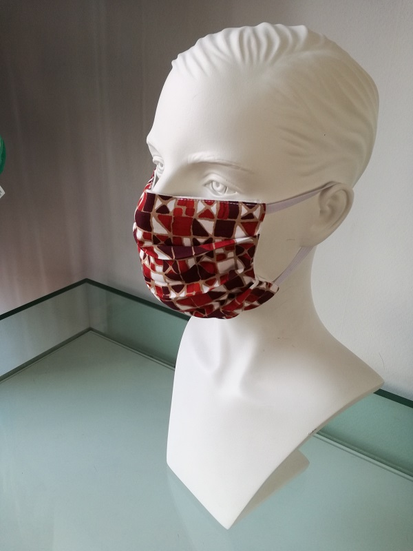 facemask red pattern shop at My Headwear, specilised in chemo hats and cosmetics