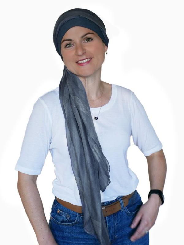 Scarf-hat Fusion Jeans - chemo headscarf / alopecia scarf