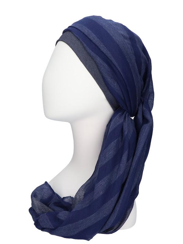 Scarf-hat Fusion Navy - chemo headscarf / alopecia scarf