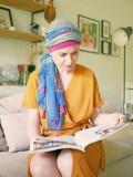 Scarf-hat New Delhi Fantasy Framboise Print - chemo scarf / alopecia scarf