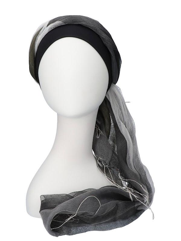 Scarf-hat Black-Grey - chemo headscarf
