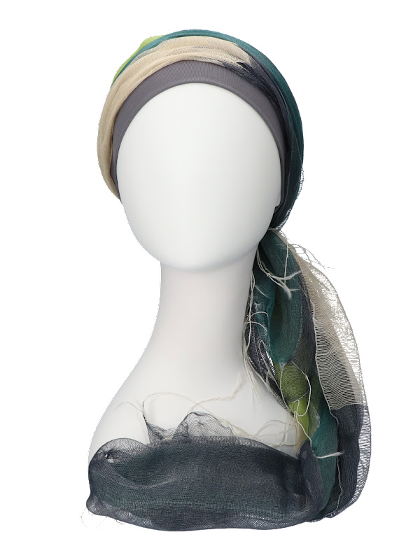 Scarf-hat Navy-Lime - chemo headscarf